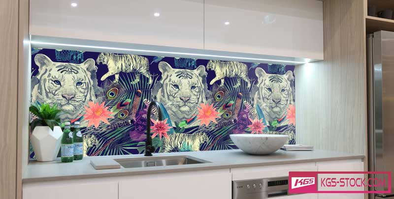 Splashbacks Glass design -  Indian white tiger head in the night - 100635