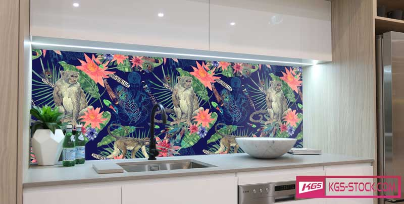 Splashbacks Glass design - Monkeys in the night jungle painting - 100638