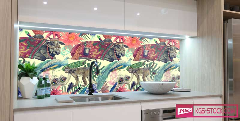 Splashbacks Glass design - Indian cattle and monkey in the jungle - 100642