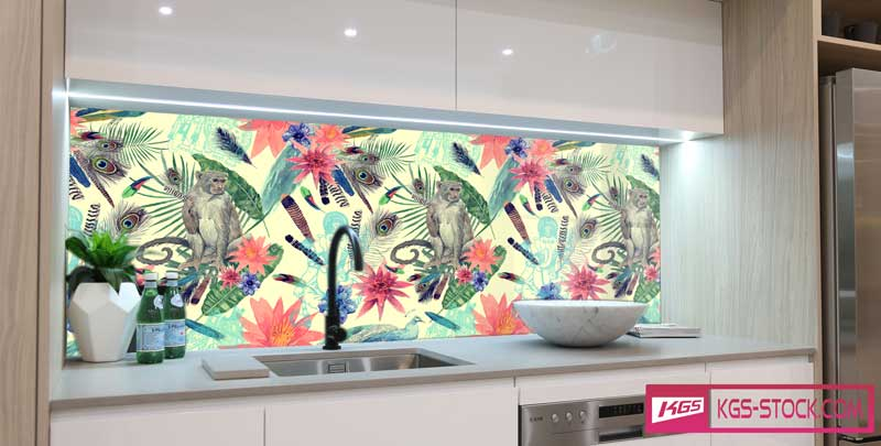 Splashbacks Glass design - Cute monkey painting - 100643