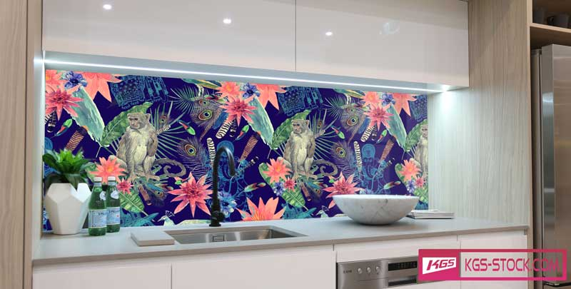 Splashbacks Glass design - Cute monkey and bird painting - 100644