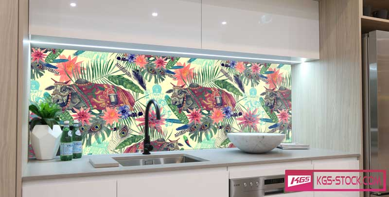Splashbacks Glass design - Indian cattle painting - 100645