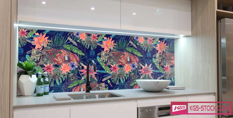 Splashbacks Glass design - Indian cattle in dark jungle - 100646