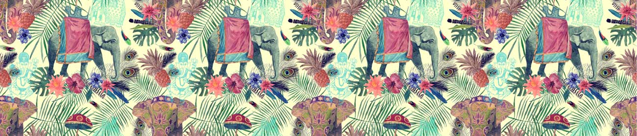 Splashbacks Glass design - Indian Elephant in the jungle - 100647 Image