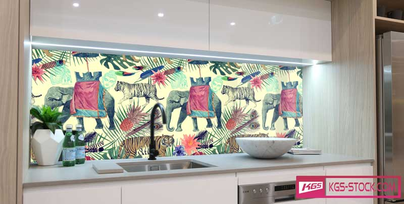 Splashbacks Glass design - Indian elephant and white tigers - 100654