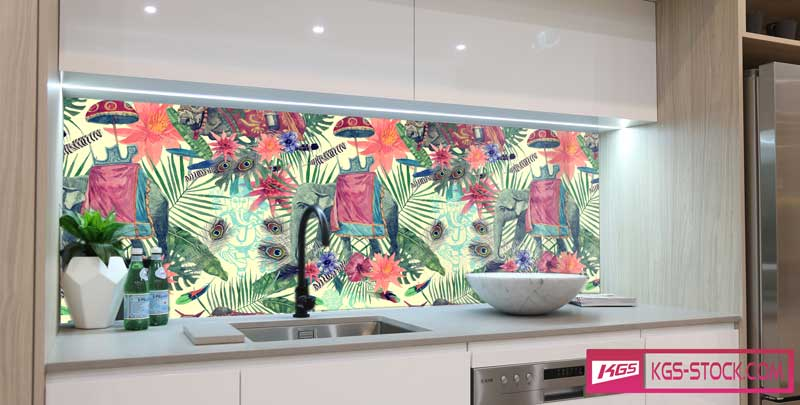 Splashbacks Glass design - Indian elephant in the jungle - 100655