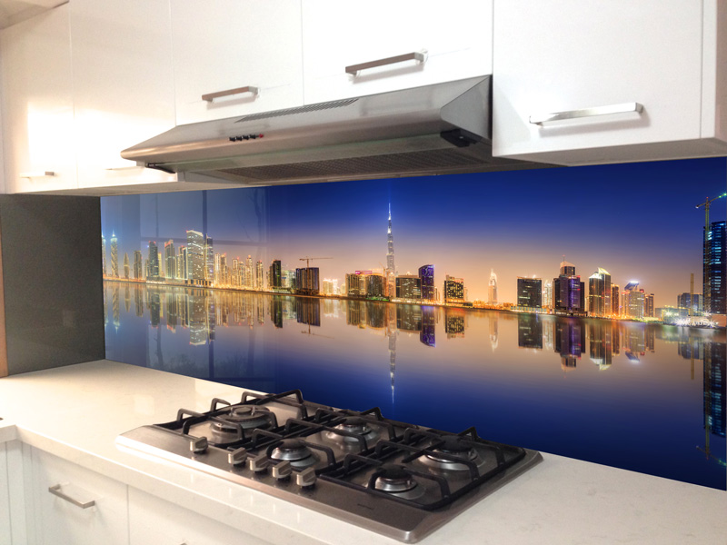 Splashbacks Glass design - MIrror city - 100104