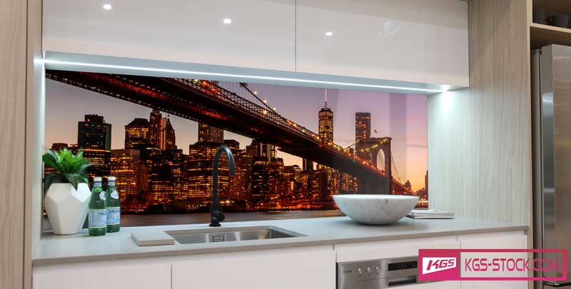 Splashbacks Glass design - Brooklyn bridge at sundown - 100106