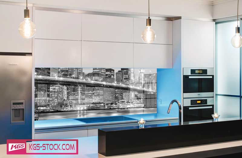 Splashbacks Glass design - Brooklyn bridge in Black and white  - 100107
