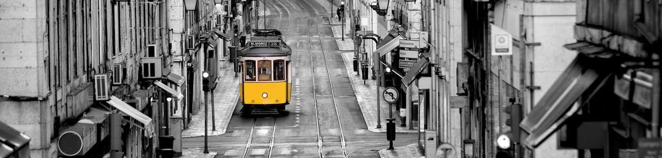 100108 Black White Street With Yellow Train