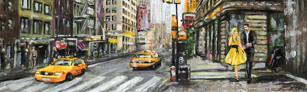 Splashbacks Glass design - New York street painting - 100110 Image