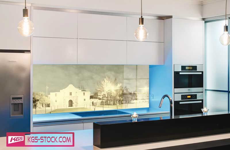 Splashbacks Glass design - City Street panoramic view - 100112
