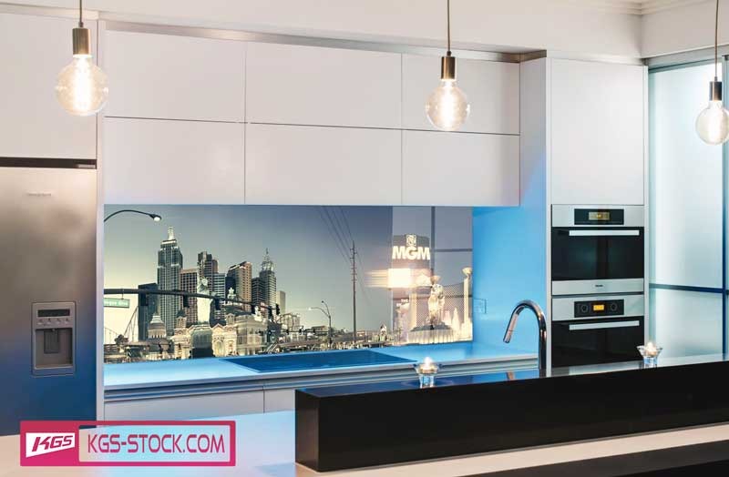 Splashbacks Glass design - Las Vegas Street panoramic view - 100114