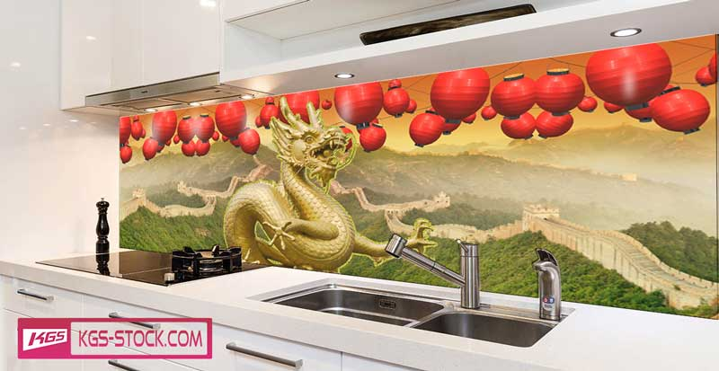 Splashbacks Glass design - China great wall and dragon - 100117