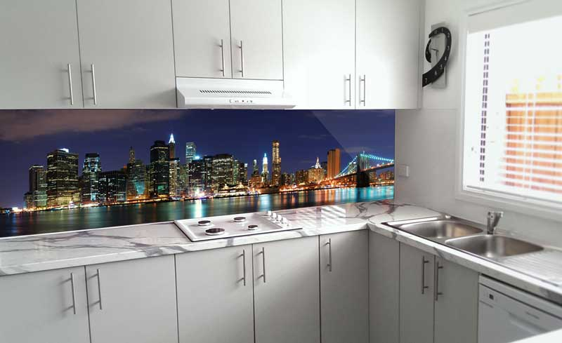 Splashbacks Glass design - New York city with bridge - 100119