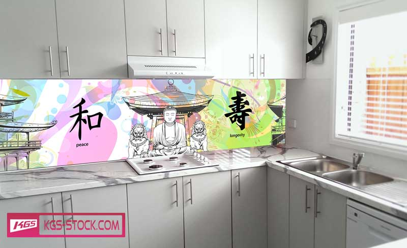 Splashbacks Glass design - Japanese buildings, Buddha and Japanese symbols - 100120