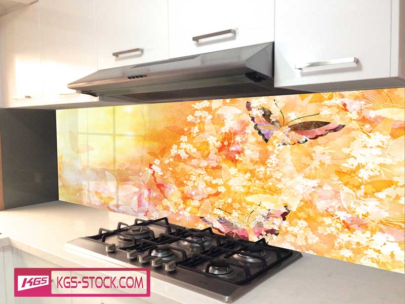 Splashbacks Glass design - Golden butterflies magic - 100737