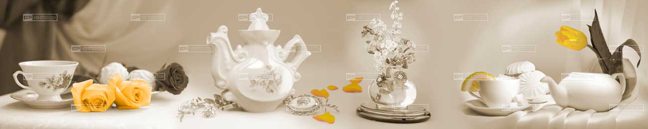 Splashbacks Glass design - Flowers and Tea set - 100701
