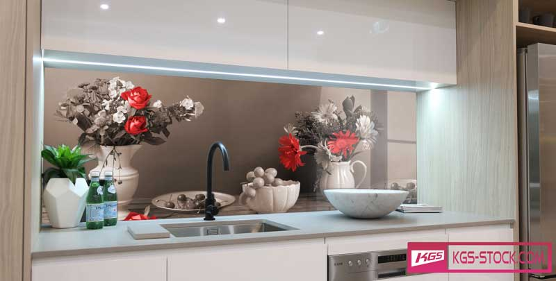 100703 Kitchen Flowers Deisng For Splashbacks Glass