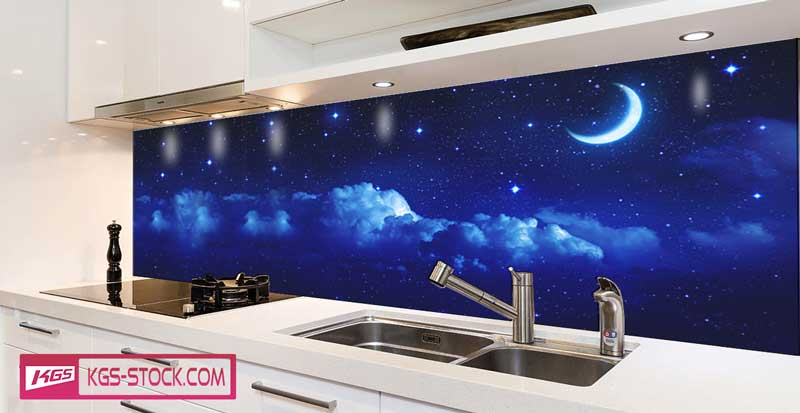Splashbacks Glass design - Night sky with stars and moon - 100707