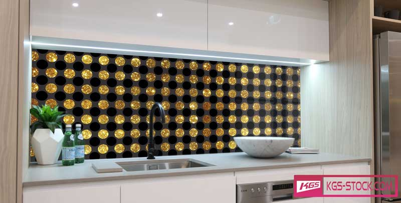 Splashbacks Glass design - Big gold diamonds - 100710