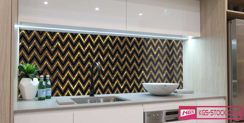 Splashbacks Glass design - Thin golden waves - 100716