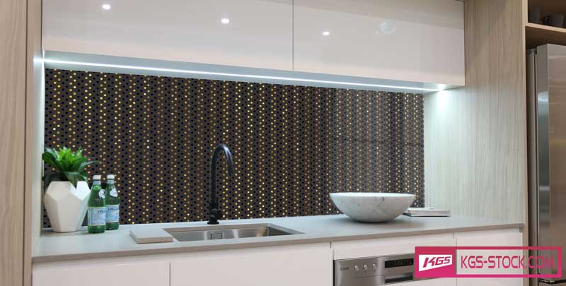 Splashbacks Glass design - Small golden diamond rain - 100717