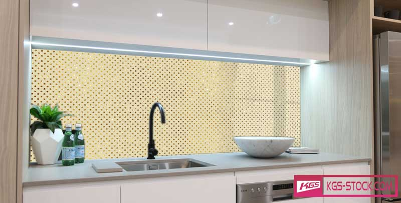 Splashbacks Glass design - Light Golden diamond rain - 100720