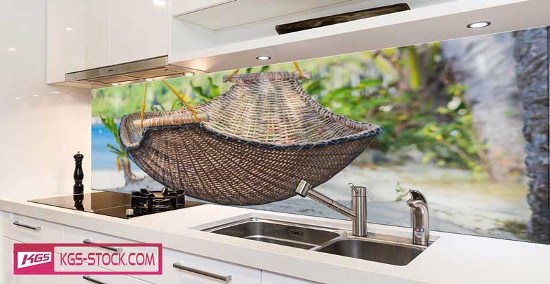 Splashbacks Glass design - Hammock at the beach - 100725