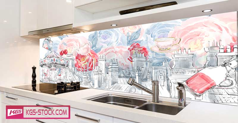 Splashbacks Glass design - Hand drawn london view and roses - 100726