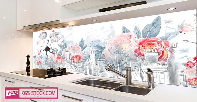 Splashbacks Glass design - Hand drawn London view and Mary Poppins - 100727