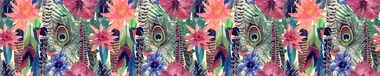 Дизайн для скинали - Hand drawn bird feathers and flowers - 100729 Image