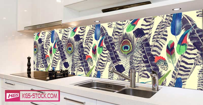 Splashbacks Glass design - Hand drawn bird feathers - 100731