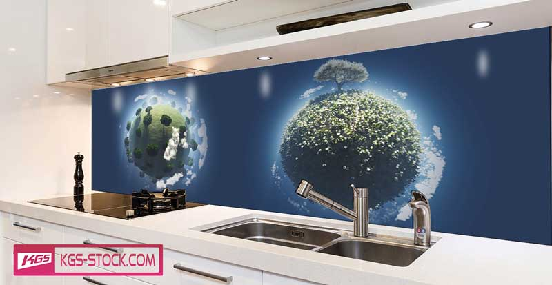 Splashbacks Glass design - Tiny small planets - 100733