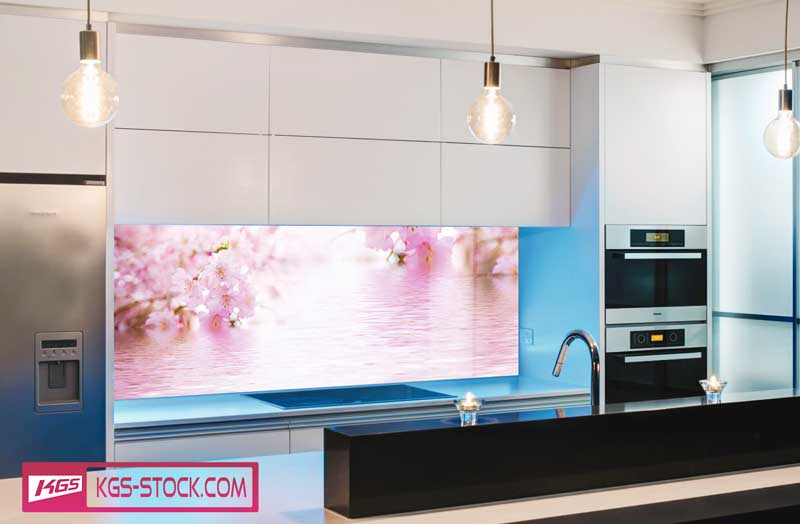 Splashbacks Glass design - Pink flowers on water - 100530