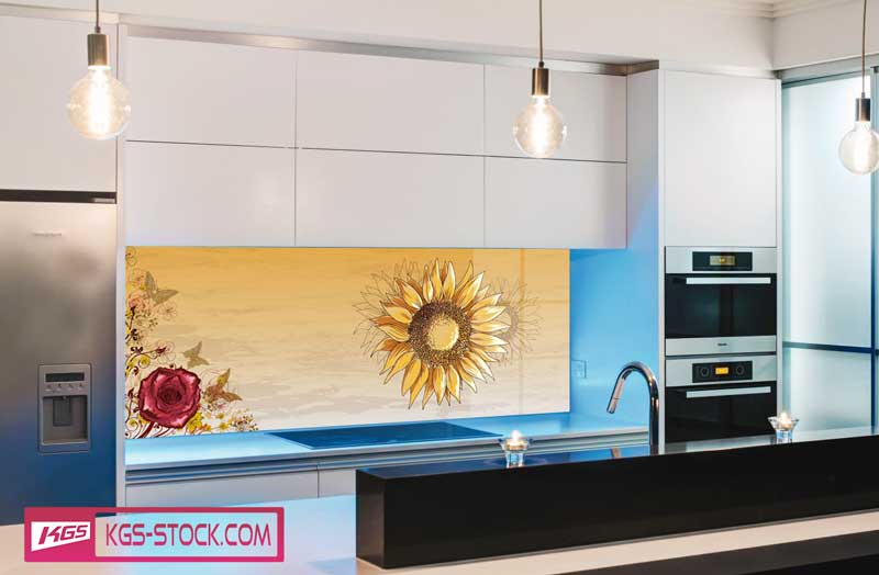 Splashbacks Glass design - Sunflowers with roses - 100533