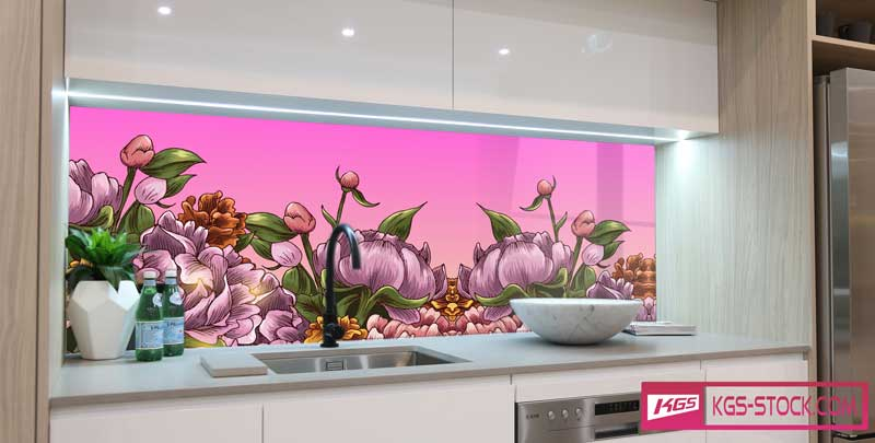 Splashbacks Glass design - Big Purple flowers - 100535