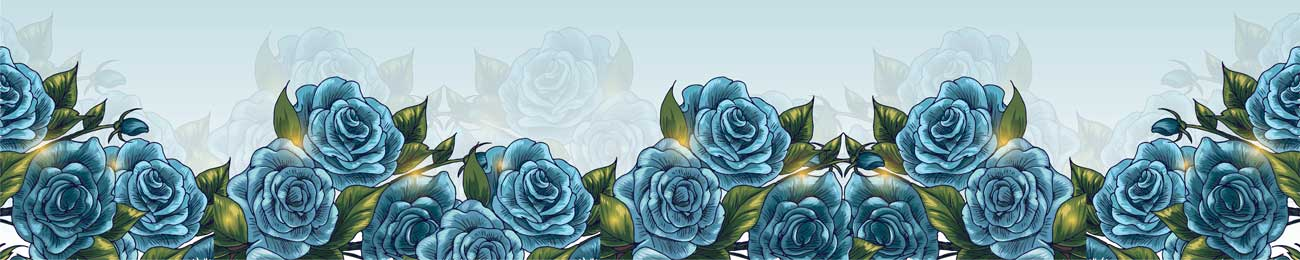 Splashbacks Glass design - Blue roses - 100537 Image