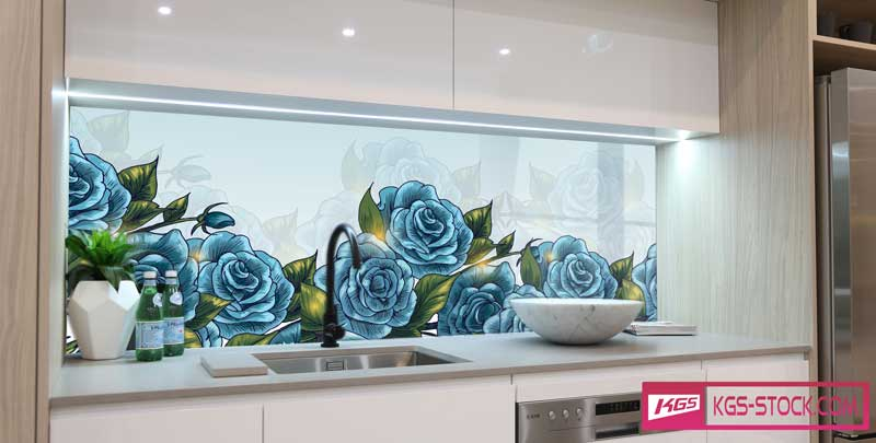Splashbacks Glass design - Blue roses - 100537