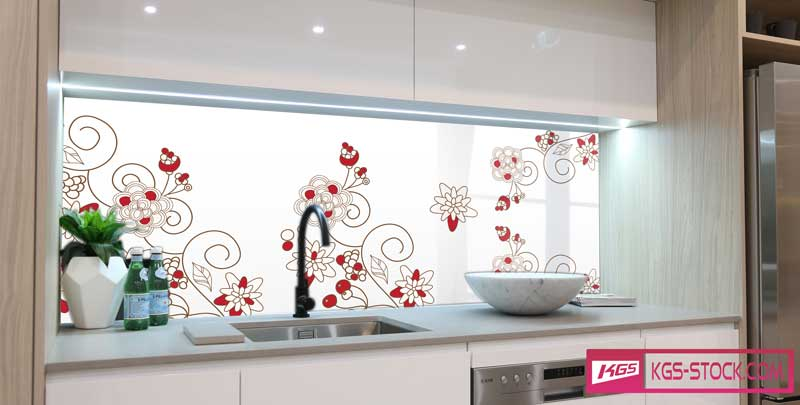 Splashbacks Glass design - Red beautiful flowers - 100539