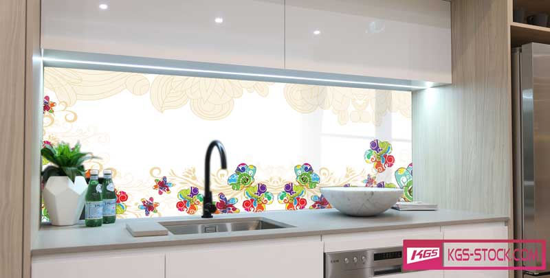 Splashbacks Glass design - Colorful beautiful flowers - 100540