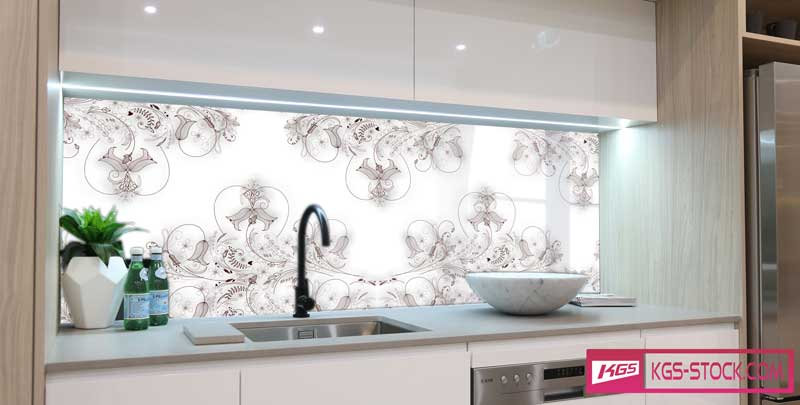 Splashbacks Glass design - Brown floral design - 100541