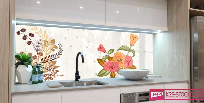 Splashbacks Glass design - Drawn beautiful decorative flowers - 100545