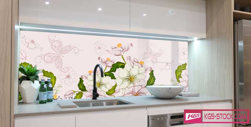 Splashbacks Glass design - Pink and White flowers - 100548