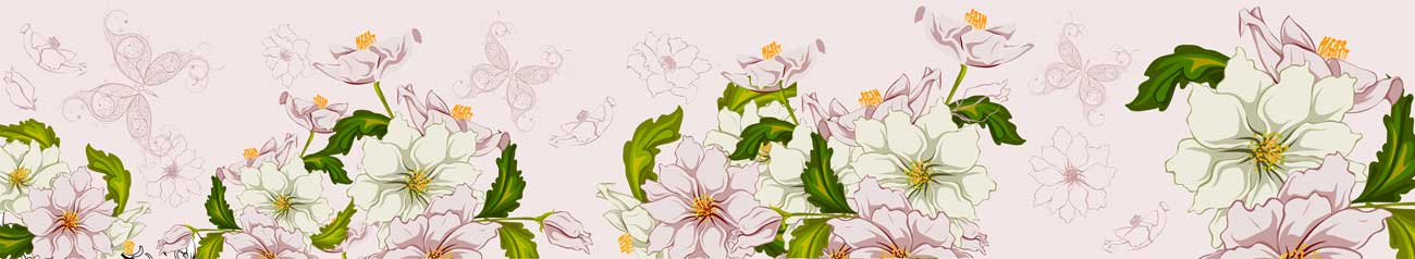 Splashbacks Glass design - Pink and White flowers - 100548 Image
