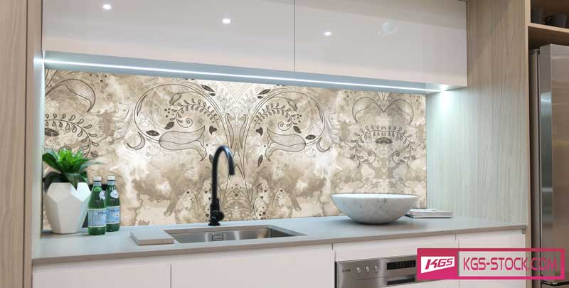 Splashbacks Glass design - Marble backgound with flowers - 100549