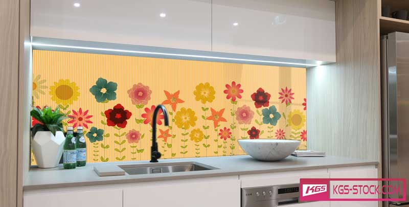 Splashbacks Glass design - Colorful drawn flowers - 100550