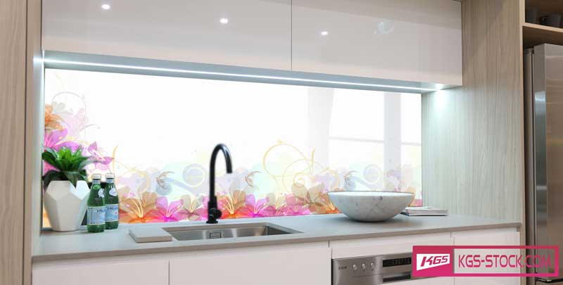 Splashbacks Glass design - Purple and pink flowers - 100552