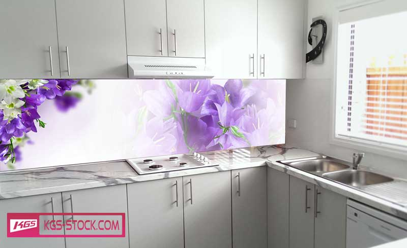 Splashbacks Glass design - Purple and white flowers - 100555