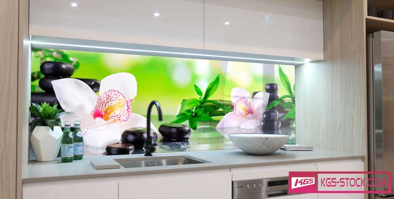 Splashbacks Glass design - Orchids and black stones - 100504